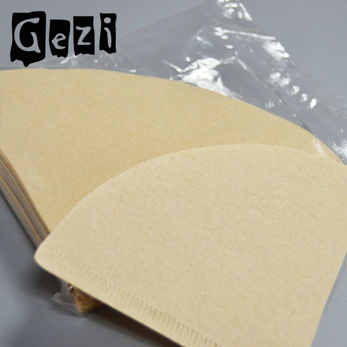 300mm Light Yellow Small Coffee Filters Wood Pulp ISO 9000 Custom Size